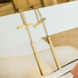 Oorringen van de Daling van de Meetkunde van de gouden-kleur de Eenvoudige Tweezijdige voor Vrouwen met de Oorringen van de Ketting