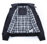 Revestimento dos homens do lazer da correção de programa do Zipper do preto da alta qualidade do OEM com bolsos
