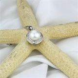 銀が付いているチェーン淡水の真珠のペンダント内のSnh 9.5-10mmボタン