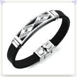 Edelstahl-Schmucksache-Leder-Armband-Silikon-Armband (LB584)