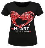 Chine Fabricant Popular Heart Screen Printing Tee-shirt Femme