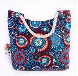 印刷されたキャンバスのショルダー・バッグの方法キャンバスのミイラ袋の綿ロープのハンドバッグ浜袋