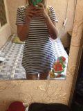 Vestito allentato della Jersey dal T di estate del vestito del manicotto a strisce casuale di Short mini