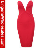 Платье Bodycon Clubwear сексуальной шеи женщин Глубокой-V без бретелек миниое
