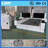 Máquina de grabado de mármol de cristal del corte del CNC del diseño de la piedra del eje de rotación de la refrigeración por agua