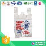 Il sacchetto della maglietta giro collo stampato abitudine di plastica con voi possiede il marchio