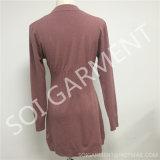 As senhoras formam a camisola magro feita malha macia com bolso (SOITSW-33)