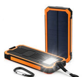 крен солнечной силы электростанции перемещения 15000mAh водоустойчивый с импульсной лампой освещения