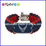 Bracelete personalizado da sobrevivência de Paracord 550 do logotipo do tipo