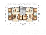 El plan de suelo del tipo medio de la casa de los edificios de la altura