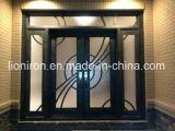 Porta do vidro do dobro da parte dianteira do ferro feito de projeto de amostra do baixo preço