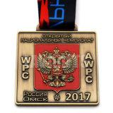 工場直接低価格の安い卸売OEMのカスタム柔らかいエナメル賞3Dデザインロゴのリボンのスポーツの円形浮彫りメダル