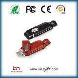 Laser 조각 USB 펜 기억 장치 지팡이를 가진 가죽 USB 기억 장치