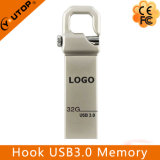 Logotipo personalizado Metal prateado Gancho USB3.0 Memória Flash (YT-3258-03)