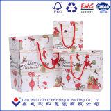 Bolsa de papel de encargo de la historieta de la Navidad, bolso del regalo del papel comercial