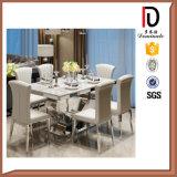 Tableau dinant dinant moderne d'acier inoxydable de marbre de meubles de salle de séjour premier