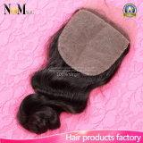 Brasilianische Haar-lose Wellen-Silk niedriges Schliessen mit Baby-Haar-Spitze-Vorderseite-Schliessen