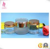 [فروستد]/شفّافة مستحضر تجميل يجعل وعاء صندوق فوق [كرم] غطاء بلسم زجاج يعبر مع ذهبيّة شظية أغطية