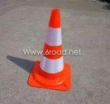 500mm 백색 지구 반사체 PVC 소통량 도로 안전 콘
