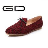 Dame-klassische Leopard-Drucken-Spitze-flache Schuhe für Frauen