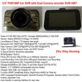 Rectángulo negro del nuevo del cinc 3.0inch coche lleno de la aleación HD1080p con la cámara del coche 2CH, Rearview, ángulo de visión 170degree, HDMI, Sistema de pesos americano-hacia fuera coche DVR-3007