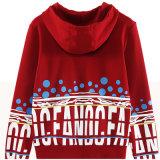 Mulheres vermelhas Hoodie da impressão frouxa longa do algodão da luva 100