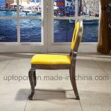 Presidenza di legno della mobilia del ristorante del Louis con la tappezzeria gialla vuota e luminosa del cerchio (SP-EC873)