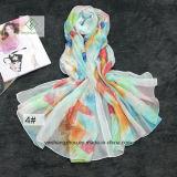 De Handdoek van het Strand van het Zonnescherm van de Druk van de veer Dame Fashion Silk Scarf