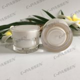 化粧品の包装のための5g 15g 30g 50gの真珠の白いウエストのアクリルのクリーム色の瓶(PPC-ACJ-126)