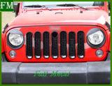 La couverture incluse avant de gril de réticulation ajuste le Wrangler Jk de jeep du noir 2007+
