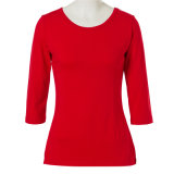 Maglietta rossa di colore della pianura del cotone dei vestiti di Dropship per le signore