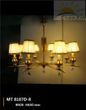 水晶雨滴浮彫りになるファブリック陰のDroplightのシャンデリアランプ生存部屋
