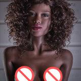 silicio plano 2017 de la muñeca del sexo de la muchacha del africano negro del pelo ondulado del pecho del 155cm