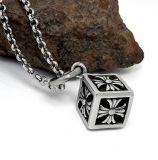 Titanium Steel Cube Necklace Pendant Men Moda Jóias