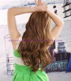 브라운 색깔 형식 강타를 가진 파도치는 합성 머리 가발