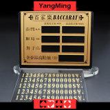 Teken van de Grens van de Lijst van het Casino van de Kaart van de Weddenschap van het Vermaak van het Koper van de Lijst van de Pook van het baccarat het Zuivere Materiële met het Plakken van de Magneet ym-LC08