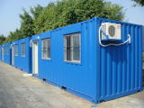 平屋根のプレハブの軽い鋼鉄容器の家