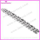 Bracelet fait sur commande d'acier inoxydable de bicyclette de bracelet à chaînes d'agrafe argentée de cadre