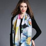 Impressão de Digitas, lenço de lã para mulheres no inverno