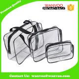 Sacchetto cosmetico del PVC di 3 formati di modo di corsa della lavata impermeabile trasparente libera dell'articolo da toeletta con la chiusura lampo