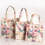 Trois tailles imperméabilisent le sac à provisions floral de configurations de PVC (T042)