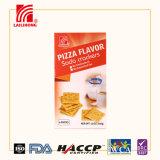 Rectángulo rojo pila de discos el alimento rico de la galleta de soda de la galleta de la leche del calcio