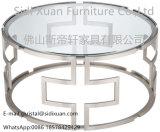 明確なガラス幾何学的なステンレス鋼の円形のコーヒーテーブルが付いている現代銀