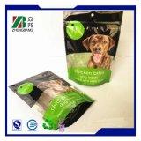 La bolsa de plástico del acondicionamiento de los alimentos de animal doméstico con la cremallera