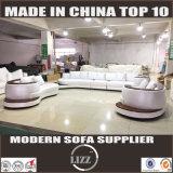 Modernes weißes Leder-Sofa mit dem Wagen eingestellt (Lz105)