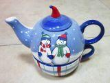 En céramique peint à la main de décoration de Noël Thé-pour-Un l'ensemble, la tasse et le pot (GW1257)