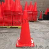 Cônes r3fléchissants d'une seule pièce oranges de sécurité routière de PVC