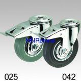 Grauer Gummischwenker mit Bremsen-Loch-Oberseite-Fußrolle