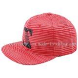 Gorra de béisbol plana del bordado de la impresión del Snapback de Bill de la tela cruzada del algodón (TMFL6345)