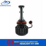 차를 위한 H11 3000lumens 30W 6000k G3 V16 터보 LED 헤드라이트